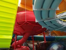 Slide at Therme Bucharest - Galaxy zone. Variety os slide at Therme Bucharest - Galaxy zone, special area for families with indoor slides and waves pool stock image