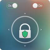 Slide to unlock button and on off buttons isolated. On soft blurred background- mobile application user interface design Royalty Free Stock Photography