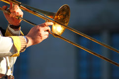 Slide trombone. Detail with hands only Stock Photo