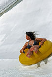 Slide on tube. Funy game in aquapark - portugal royalty free stock images