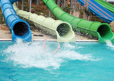 Slide in water park. Three pipes in the water park and legs Stock Photos