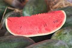 Slide of watermelon. Asian tropical fruits for sale.  Stock Photo