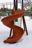 Slide zig-zag. Bright winter Playground for active healthy babies Stock Photography