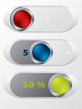 Slideable shiny buttons with hidden discounts Stock Photography