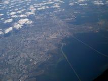 Slidel Louisiana på 35000 fot Arkivfoto
