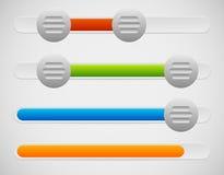 Slider / Adjuster UI Elements With Knobs and Loading, Progress B. Eps 10 Vector Illustration of Slider / Adjuster UI Elements With Knobs and Loading, Progress Stock Images