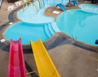 Slider for adult in the public water park Stock Photo