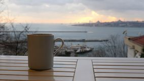 Slider, dolly coffee cup, background sultanahmet istanbul turkey stock footage