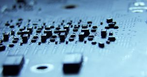 Slider dollymacro shots of the surface of computer hardware parts chips,motherboard,cpu,curcuits 4K close up macro. The components of the computer. The camera stock video footage