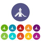 Slider, kids playground equipment set icons Stock Images