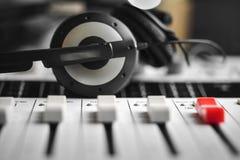Slider level of a digital Sound mixer Stock Images