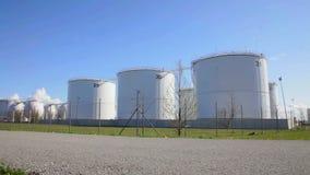 Slider shot of fuel storage station. stock video footage