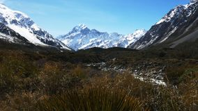 Slider shot of valley and mt cook stock footage