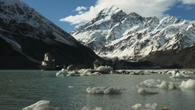 Slider shot of mt cook and lake stock video