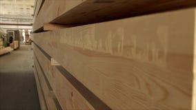 Slider sobre blocos de madeira de uma árvore de uma barra vídeos de arquivo