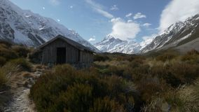 Slider wide shot of a shelter and mount cook stock footage