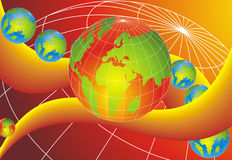 Slider World Globes. Abstract background, one big world globe and six small globes placed on orange curve Royalty Free Stock Image