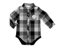 Slideres quadriculado da camisa do ` s das crianças No branco Fotografia de Stock