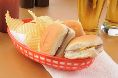 Sliders and beer Stock Image