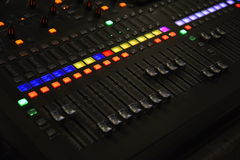 sliders of a  colorful mixing console Stock Images