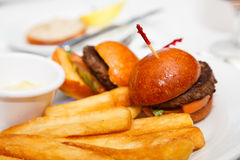 Sliders and French Fries Royalty Free Stock Photos