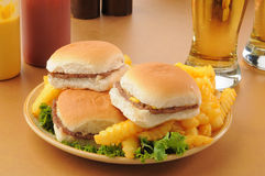 Sliders and fries Royalty Free Stock Photo