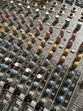 Sliders of sound controller in recording studio. Full frame Royalty Free Stock Photo