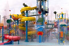 Sliders in the water park swimming pool Stock Image