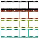 Slides of 35mm film in different colors. A slide of 35 mm film in b/w, original and two different colors,ideal for website borders Stock Image