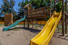 Slides from a children playground Stock Image