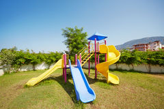 Slides at children playground Royalty Free Stock Images