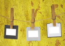 Slides hanging on a rope, freey space for pix Stock Images