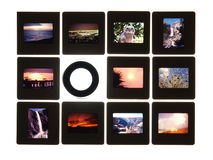 Slides and Lupe on Light Table. Colorful vintage slides on a light table.  Note: All slides were taken by the photographer and are included in the release Royalty Free Stock Photos