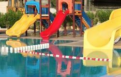 Slides near the pool Stock Image