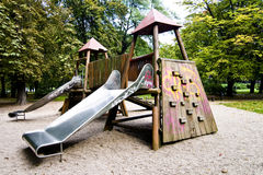 Slides in park during autumn, wide range of colors Royalty Free Stock Images