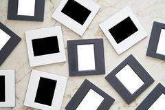 Slides, picture frames stock images