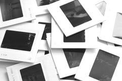 Slides piled up. Photo of slides on a white background Royalty Free Stock Photo
