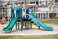 Slides at playground ( schoolyard ) Stock Photography