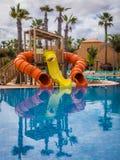 Slides at the Resort pool royalty free stock photos