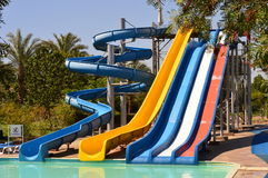 Slides. Water slides and a beautiful swimming pool Stock Image