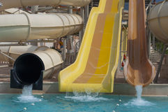 Slides at the water park Royalty Free Stock Images