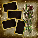 Slides with willow bouquet  on grunge background Royalty Free Stock Photo