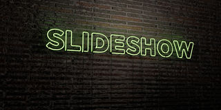 SLIDESHOW -Realistic Neon Sign on Brick Wall background - 3D rendered royalty free stock image Royalty Free Stock Image