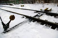 Slidign rail on snow Royalty Free Stock Photography