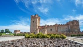 Sliding camera time lapse of entrance to La Mota Castle stock video