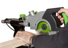 Sliding Chop Saw. Cutting timber with sliding chop saw stock images
