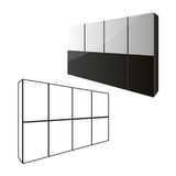 Sliding door wardrobe or dressing room, changing rooms, shop with a wood texture in vector graphics Stock Images