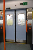 Sliding doors inside train Royalty Free Stock Photography