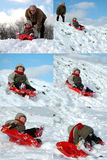 Sliding Down!. Time Lapse sequence of 6 photo's showing a little boy (3) sliding down a snowy slope on his sleigh Royalty Free Stock Photography