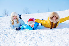 Sliding downhill Royalty Free Stock Images